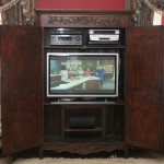 "Converted wardrobe holds 42"" Plasma tv, surround receiver, blu-ray player, CD changer, VCR/DVD combo, Cable HD, center channel speaker"