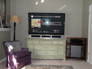 "65"" Plasma TV wall mounted with 5.1 surround"